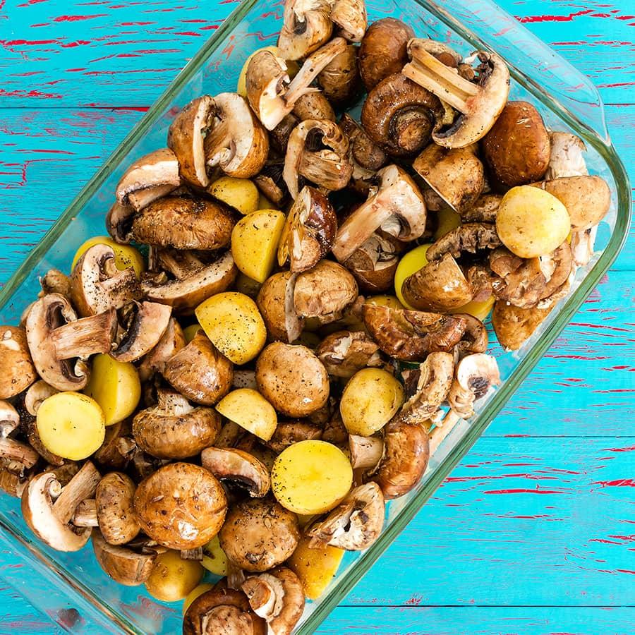 Cogumelos Paris com Batatinhas Novas