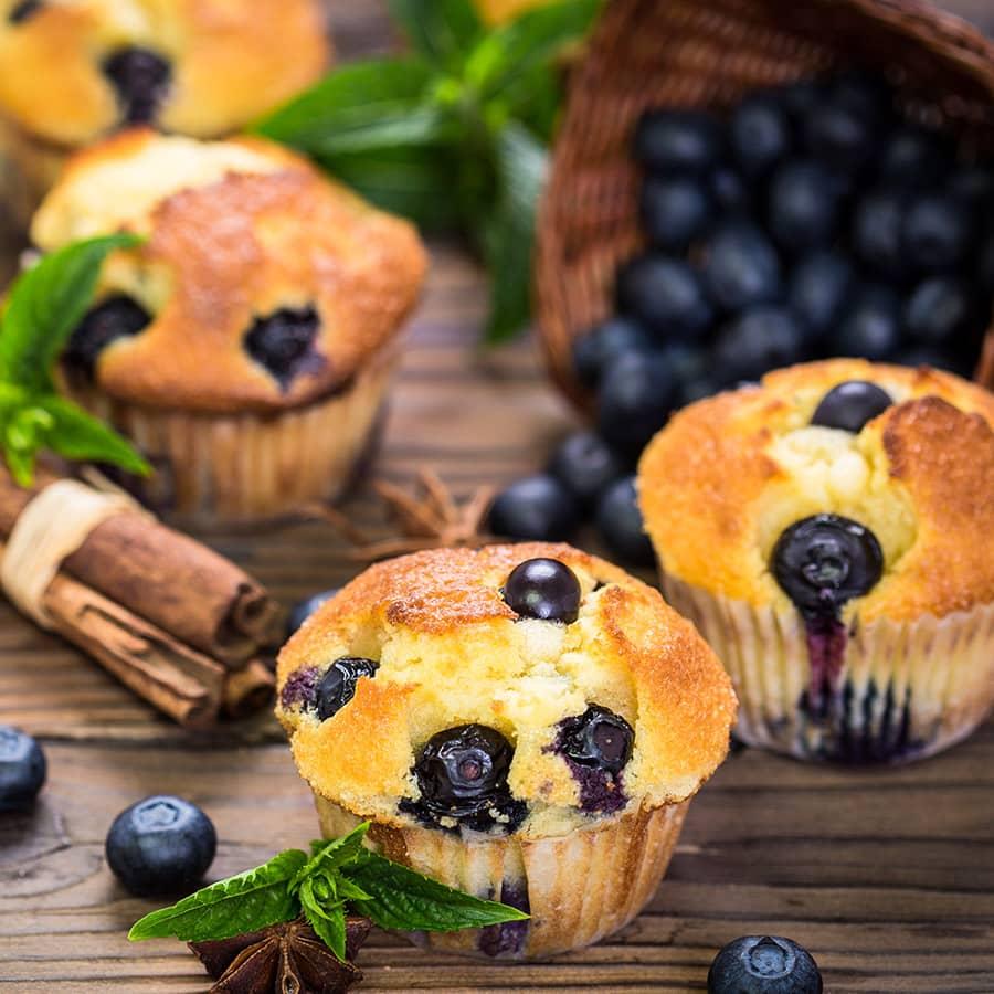 Muffins de Mirtilos com Coco e Canela