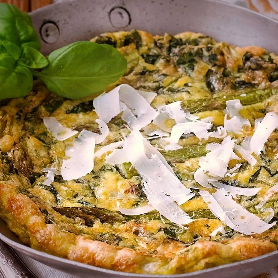Tortilha de Espargos com Parmesao e Coco